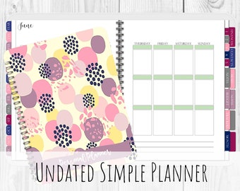 Undated Simple Digital Planner for iPad Goodnotes   With Functioning Tabs   Watercolor Digital Planner With Budget & Meal Planning