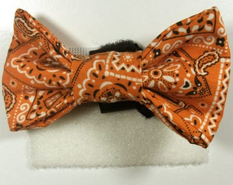 Orange Paisley  Patterned Bow Tie