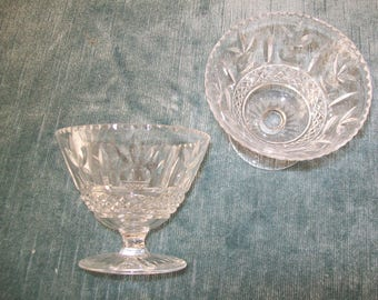 VINTAGE - Two Cut Crystal English Sherbet Coupes