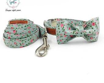 Pretty Rose Floral Flower Print - Dog Collar Bow Tie and Matching Leash Set