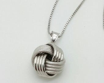 925 Solid Sterling Silver Italian Love Knot Box Chain Necklace Pendant Italy 1.0mm 18""