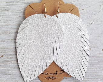White Leather Feather Earrings, Leather Earrings, Feather Earrings, Statement Earrings, Bohemian