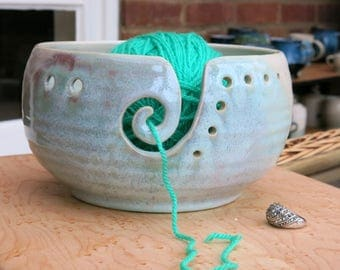 Handmade wheel thrown Yarn Bowl, knitting and crochet bowl