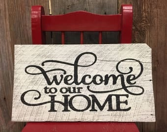 Rustic Welcome to our home Sign