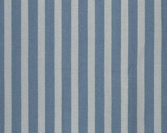 Waxed canvas has blue vertical stripes on blue grey background