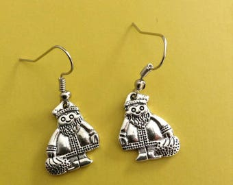 Santa Claus earrings silver metal