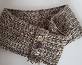 Beige Crocheted Cowl