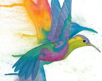 "Rainbow Hummingbird in Flight - 18""X12"" Poster Print"