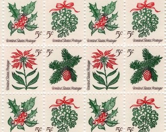 1964 - Holly Sheet of 100 x.05 Christmas - Mint-Unused- US Postage Stamps - Scott 1254-7 - Full Sheet