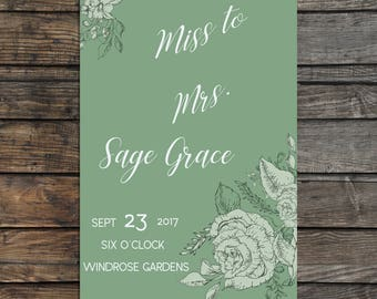 Sage Bridal Shower Invitation