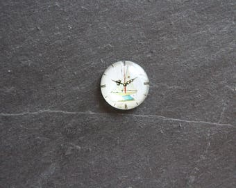 "Cabochon 20 mm ""sailboat"" glass clock"