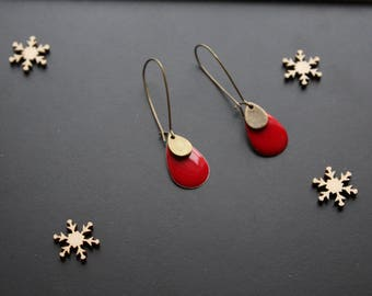 Ethnic earring, red sequin drop shape. sleeper / hoop