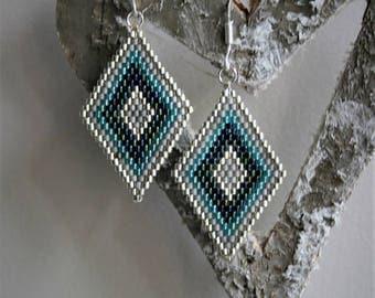 Pearl Earrings glass Miyuki tones blue green and silver, 925 Silver hooks