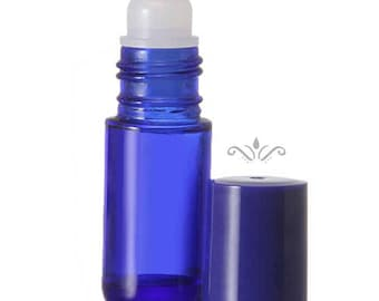 144 Blue Glass Roll On Bottles - 5 ML