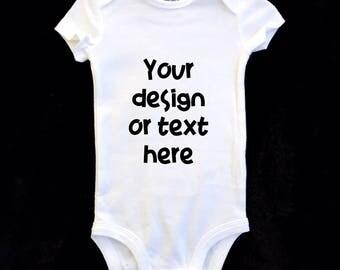 Custom Text Onesie, Custom White Onesie, Custom Design Onesie, Personalized Onesie, Pregnancy Announcement, Gender Reveal Onesie