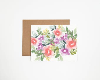 Floral Bouquet #2 Greeting Card - Can Be Customized With Writing