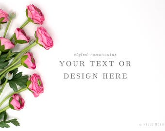Styled Stock Photography - Floral Styled Stock Photography - Flower Stock Images - Floral Styled Mockup - ranunculus stock image