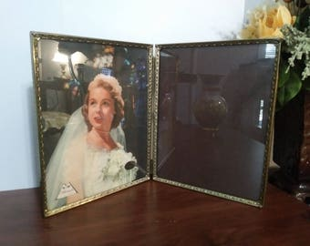 """Vintage Double Hinged Photo Frame Gold Metal Folding Picture Photo Decoration 8x10"""" each frame"""