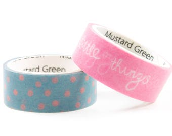 Set of 2 washi tape. Green and Pink