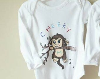 Hand Painted Cheeky Monkey bodysuit, personalised