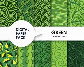 Green Digital Paper - Green Scrapbook Paper - Digital Paper Pack- Green Printable Paper- Green Background - 12x12 Paper - Instant Download