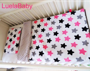 étoile LuelaBaby Blanket Baby Minky + Pillow , Coussin + Couverture plaid Bebe