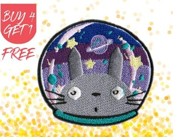 Space Patches Totoro Patch Iron On Patch Embroidered Patch Anime Astronaut