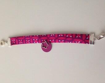 Fabric Liberty purple pink girl bracelet