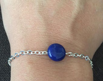 Chain bracelet light silvery blue faceted bead