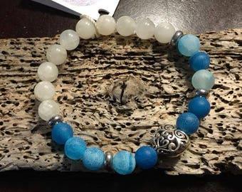 Dragons Vein Agate and Moonstone Bracelet