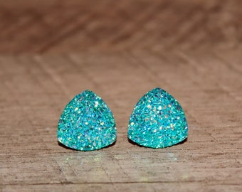 Turquoise Druzy Triangle Earrings