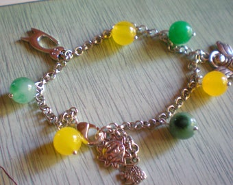 Chain BRACELET with agate and pendants