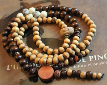 NECKLACE or BRACELET spiritual MALA with 108 beads with lotus