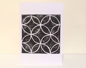 Block print patterned card