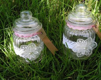 Candy box, shabby, white and pink glass jar