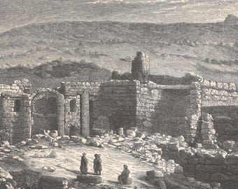 Jordan 1867, Ruins of Rabbath Ammon, Old Antique Vintage Engraving Art Print, Buildings, Bricks, Columns, Arch, Hill, Ruined, Dilapilated