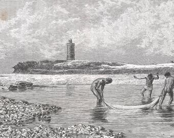 Somalia 1888, Tower of Braoua, Old Antique Vintage Engraving Art Print, Tower, Coast, River, Man, Naked, Stone, Fishing, Net, Sand, Cloud
