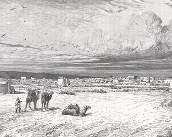 Somalia 1888, Braoua, view taken from the south, Old Antique Vintage Engraving Art Print, Town, City, Building, Water, Shore, Sand, Bush