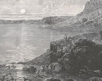 Palestine 1885, The South End of the Dead Sea, Old Antique Vintage Engraving Art Print, Man, Staff, Standing, Sitting, Lake, Mountain, Bank