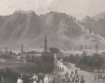 Syria 1836, Antioch, On the Approach From Suadeah, Old Antique Vintage Engraving Art Print, Mountain, Town, Dog, Wall, Fort, Bridge, Man
