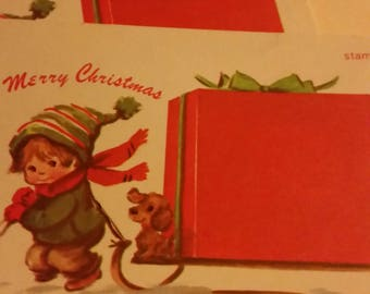 Vintage Greeting Card - Christmas Postcard - Little Boy Hauling Huge Gift on Sled - 2 postcards