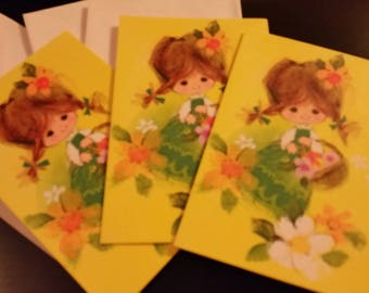 Vintage Greeting Card - Vintage Blank Cards * Little Girl with Flowers - Unused Blank Cards - Trio of Cards