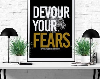 Devour Your Fears Motivational Inspirational Quote Printable Art Wall decor Art Design Instant Download Printable Art Quote Black