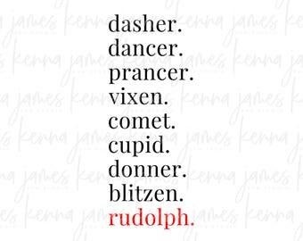 Reindeer Names svg   Rudolph The Red Nosed Reindeer svg   Rudolph svg   Christmas svg   Farmhouse Style svg   SVG   DXF   JPG   cut file