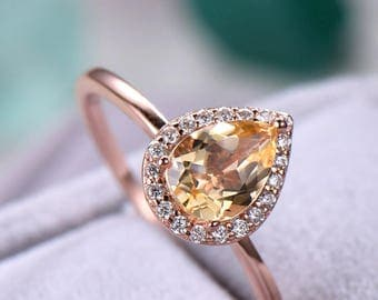 Citrine engagement ring Stacking band halo plain gold sterling silver manmade diamond white/rose/yellow gold plated aquamarine morganite.