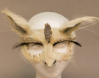 Hand Feathered Unicorn Mask