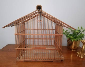 Vintage Pagoda Birdcage, Bamboo, Matchstick