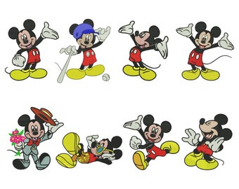 8 Mickey Embroidery Design - 4 SIZES
