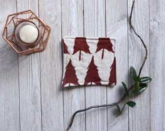 Linen Coaster Set Drink Coasters Tree Print Block Printed Custom Housewarming Gift for Mother Coaster Set Cloth Coaster Natural Linen Rustic