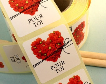 """20 labels gift stickers - """"For you"""" # EMB55"""